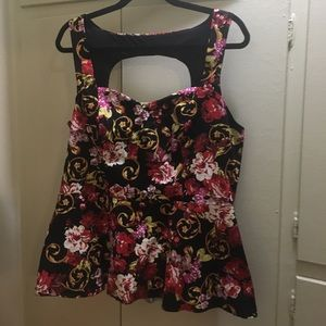 Torrid Floral Peplum Top with Cutout Back